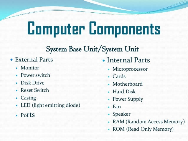 basic parts of a computer Parts on a computer that are universal to all computers hardware vs software hardware includes the parts of the computer system that  computer basic skills .