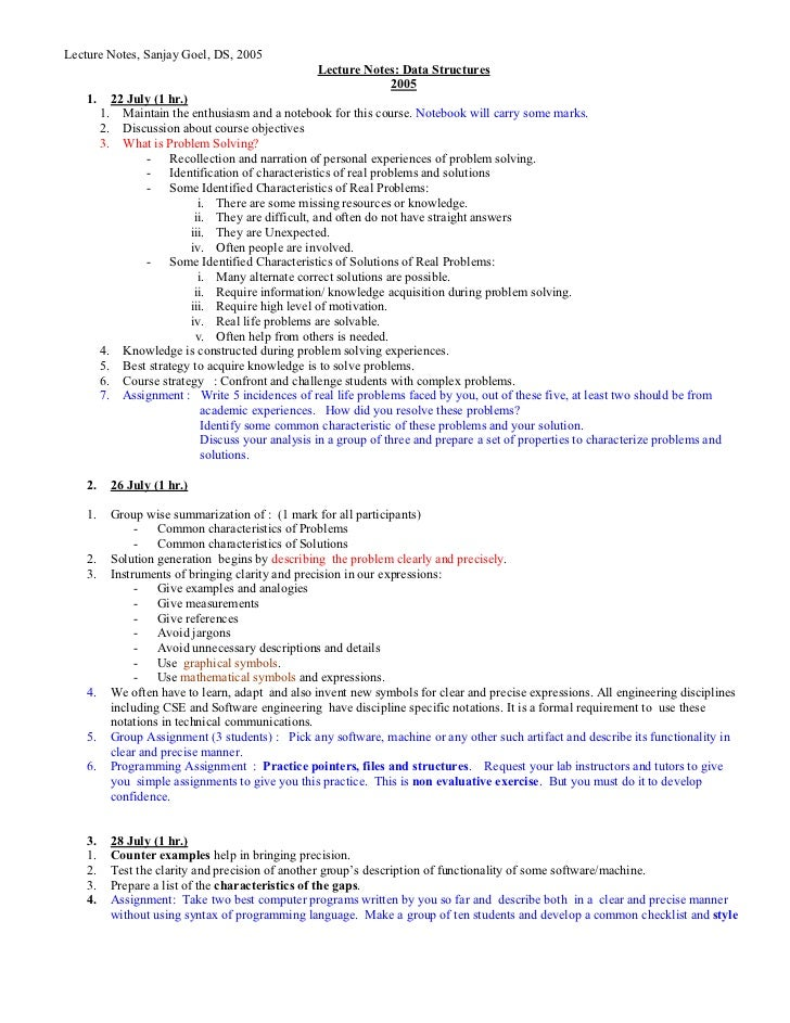 Lecture Notes, Sanjay Goel, DS, 2005                                                     Lecture Notes: Data Structures   ...