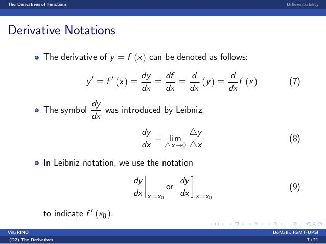 Benginning Calculus Lecture notes 3 - derivatives