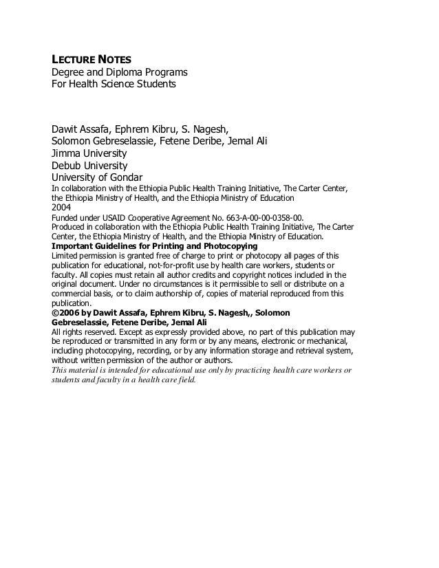 LECTURE NOTESDegree and Diploma ProgramsFor Health Science StudentsMedical ParasitologyDawit Assafa, Ephrem Kibru, S. Nage...