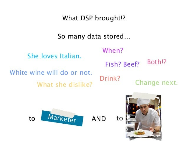 What DSP brought!? So many data stored... When?  She loves Italian.  Fish? Beef? White wine will do or not. What she disli...