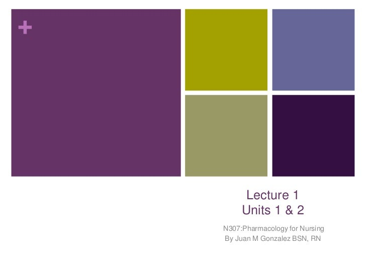 +         Lecture 1         Units 1 & 2    N307:Pharmacology for Nursing    By Juan M Gonzalez BSN, RN
