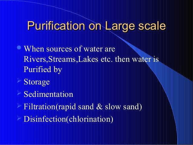 Lecture on purification of water by