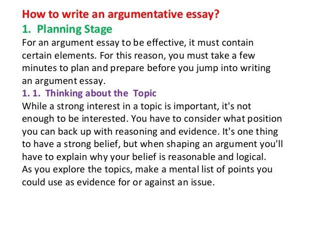 argumentative essay format samples