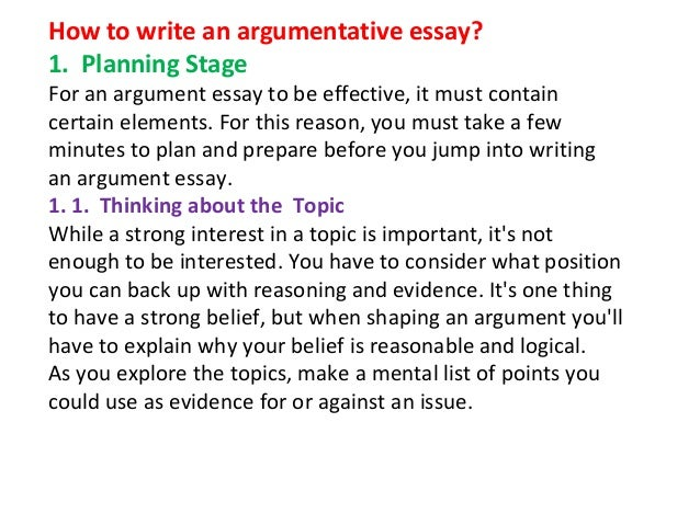 how to write an argumentative essay ppt