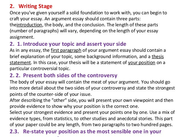 Lecture on writing argumentative essays ppt