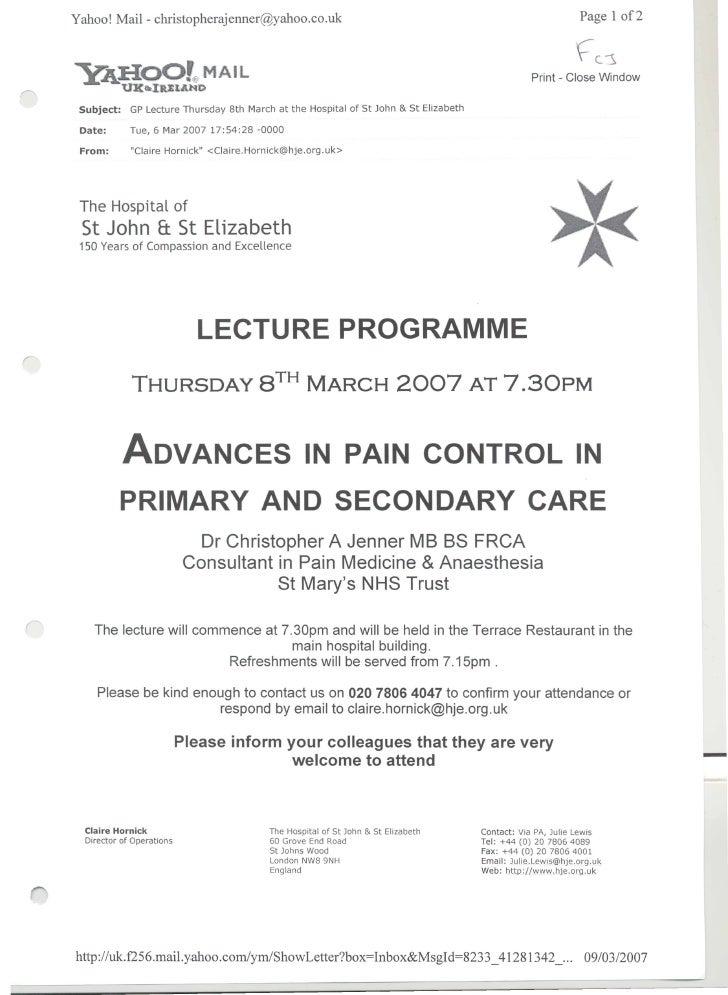 St John & St Elizabeth Lecture Programme   'Advances in pain control'