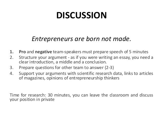 entrepreneurs are born not made essay
