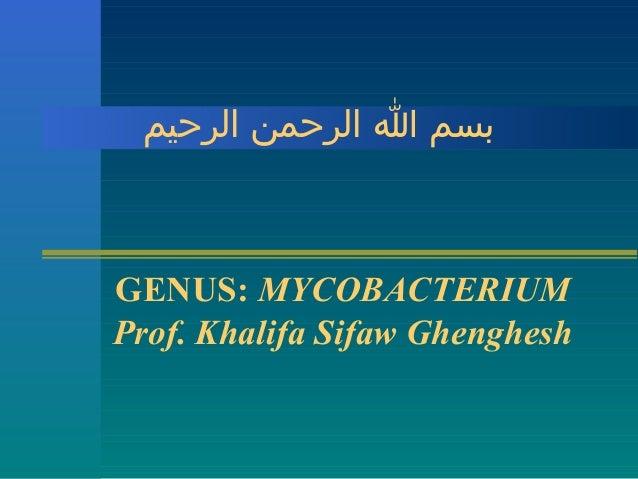 بسم ا الرحمن الرحيم  GENUS: MYCOBACTERIUM Prof. Khalifa Sifaw Ghenghesh