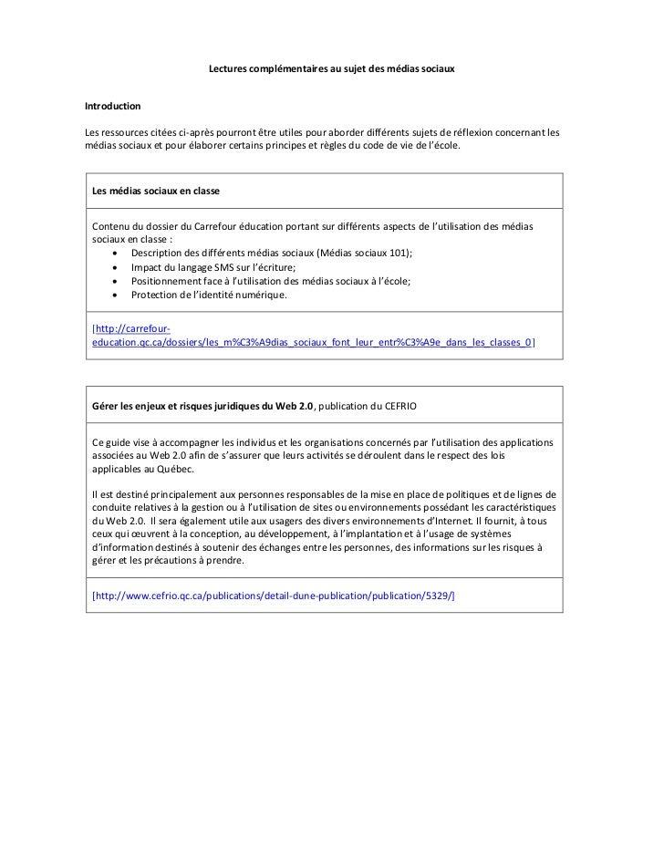 Lectures complémentaires au sujet des médias sociauxIntroductionLes ressources citées ci-après pourront être utiles pour a...