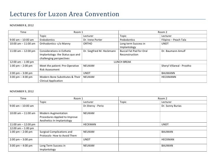 Lectures for Luzon Area ConventionNOVEMBER 8, 2012       Time                                     Room 1                  ...