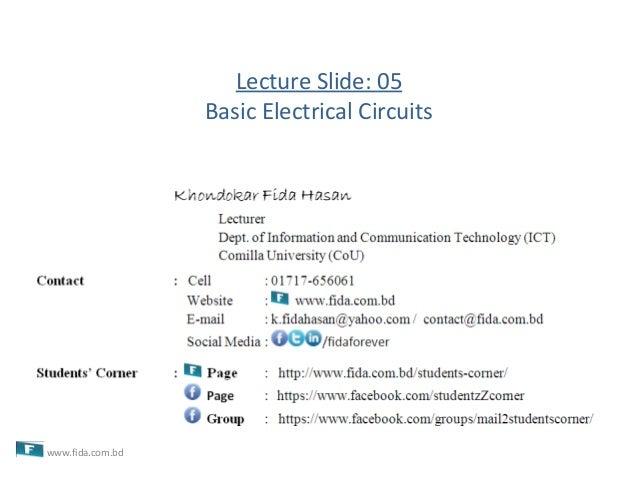 Lecture Slide: 05Basic Electrical Circuitswww.fida.com.bd