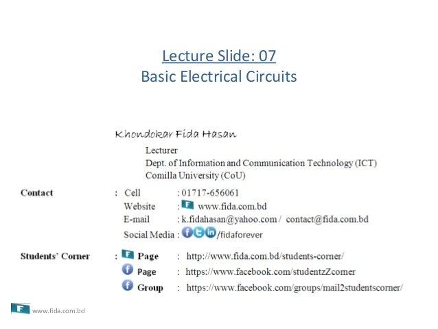 Lecture Slide: 07Basic Electrical Circuitswww.fida.com.bd