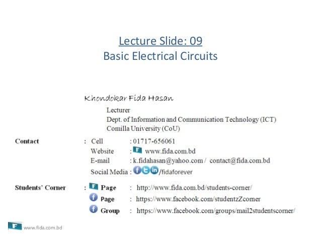 Lecture Slide: 09Basic Electrical Circuitswww.fida.com.bd