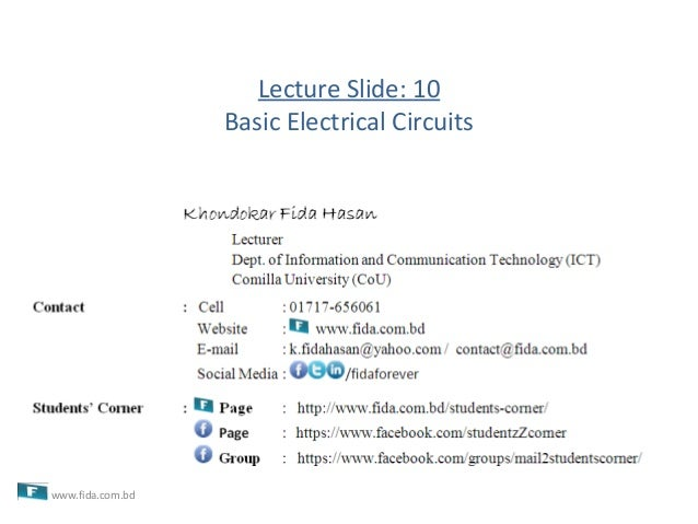 Lecture Slide: 10Basic Electrical Circuitswww.fida.com.bd