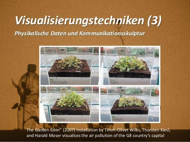 """Visualisierungstechniken (3) Physikalische Daten und Kommunikationsskulptur The Garden Eden"""" (2007) installation by Timm-O..."""