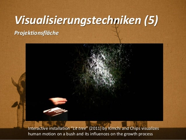 "Visualisierungstechniken (5) Projektionsfläche Interactive installation ""Lit tree"" (2011) by Kimchi and Chips visualizes h..."