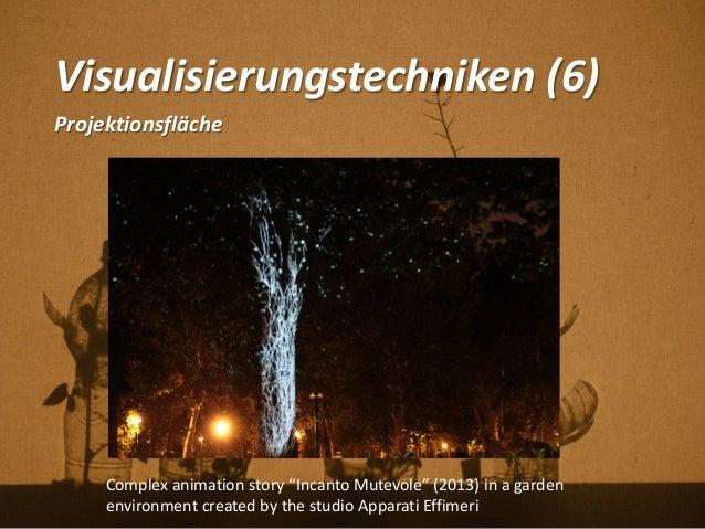 """Visualisierungstechniken (6) Projektionsfläche Complex animation story """"Incanto Mutevole"""" (2013) in a garden environment c..."""