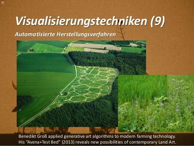 Visualisierungstechniken (9) Automatisierte Herstellungsverfahren Benedikt Groß applied generative art algorithms to moder...
