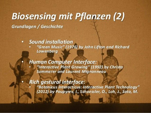 """Biosensing mit Pflanzen (2) Grundlagen / Geschichte • Sound installation • """"Green Music"""" (1976) by John Lifton and Richard..."""