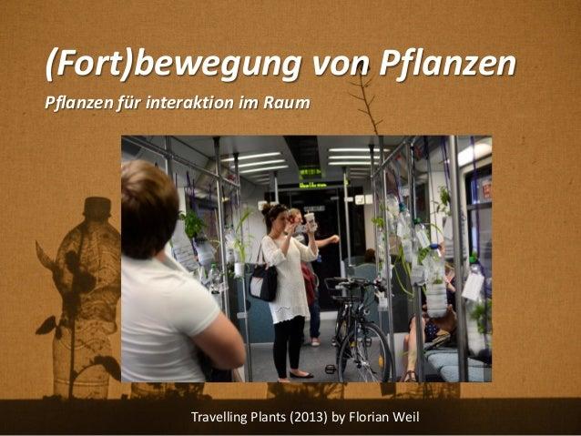 (Fort)bewegung von Pflanzen Pflanzen für interaktion im Raum Travelling Plants (2013) by Florian Weil