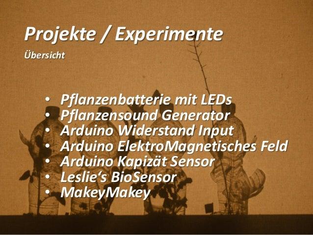 Projekte / Experimente Übersicht • Pflanzenbatterie mit LEDs • Pflanzensound Generator • Arduino Widerstand Input • Arduin...