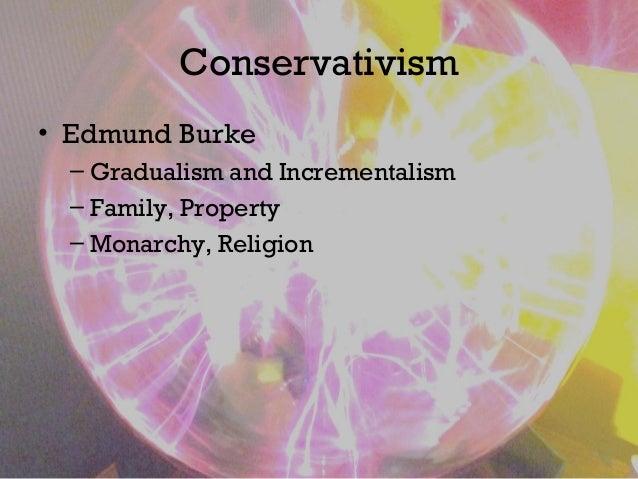 Conservativism • Edmund Burke – Gradualism and Incrementalism – Family, Property – Monarchy, Religion