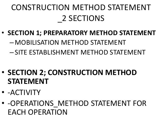 Lecture slides4 Construction Project Planning – Method Statements Examples