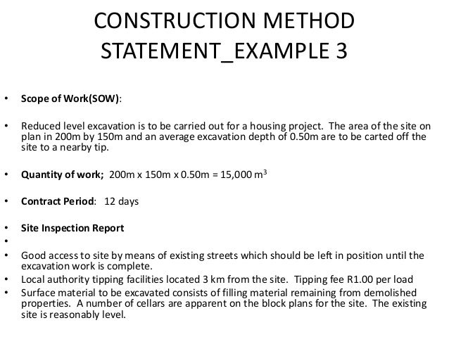 Lecture slides4 construction project planning for Construction statement of work template
