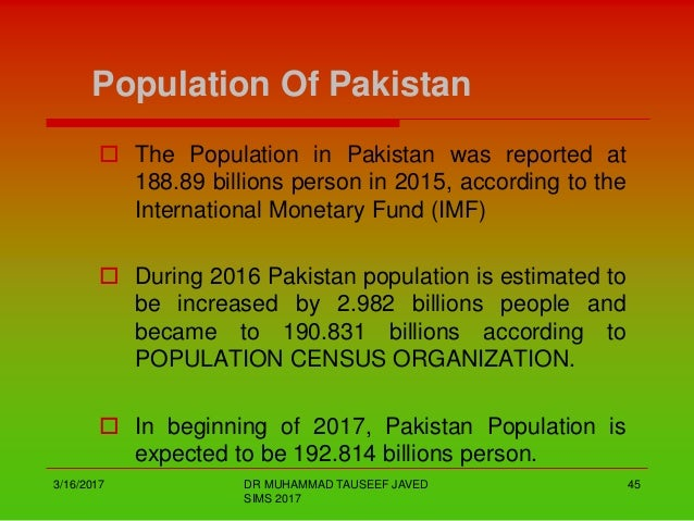pakistan population 2019