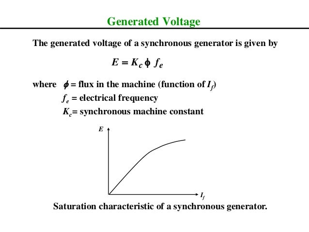 Generated Voltage The generated voltage of a synchronous generator is given by where f = flux in the machine (function of ...