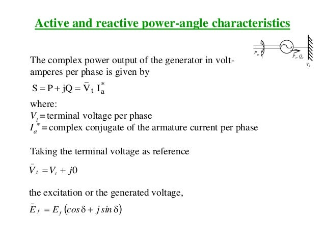 The complex power output of the generator in volt- amperes per phase is given by * at _ IVjQPS  where: Vt = terminal vo...
