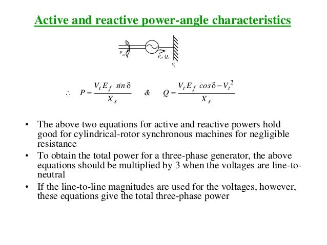 Active and reactive power-angle characteristics Pm Pe, Qe Vt s tft s ft X VcosEV Q& X sinEV P 2 d  d  • The above two ...