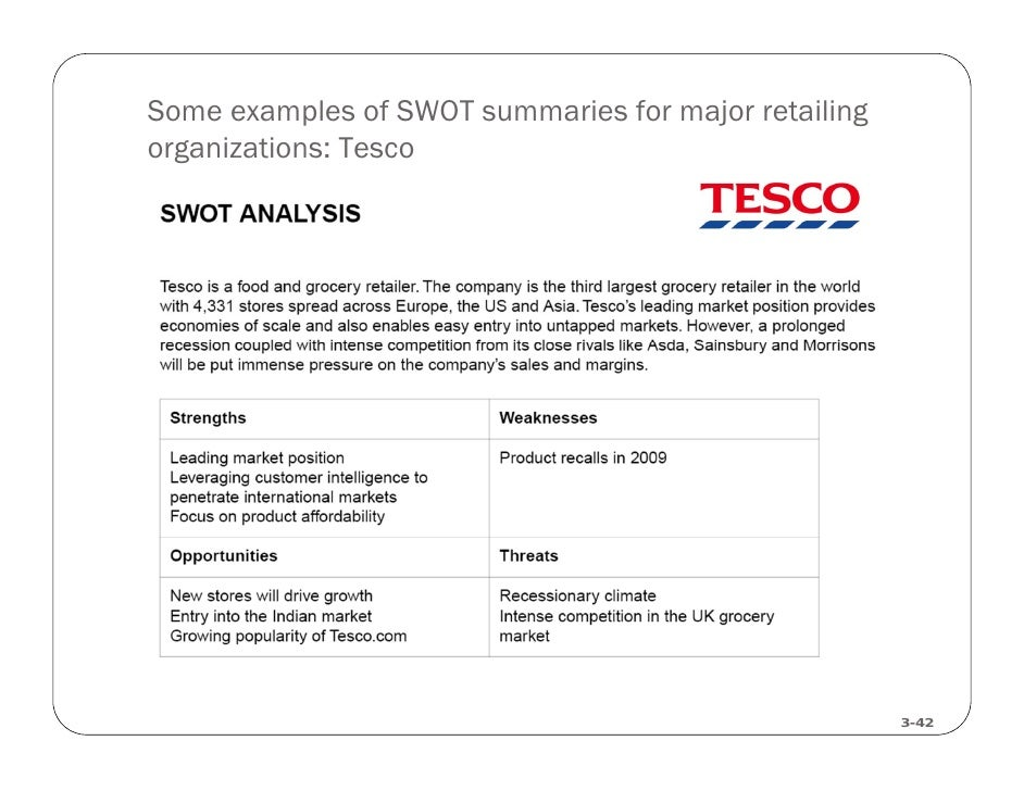 tesco competitors The table below illustrates the main points of tesco swot analysis: tesco is the biggest retailer in the uk with a grocery market share of 279 per cent.