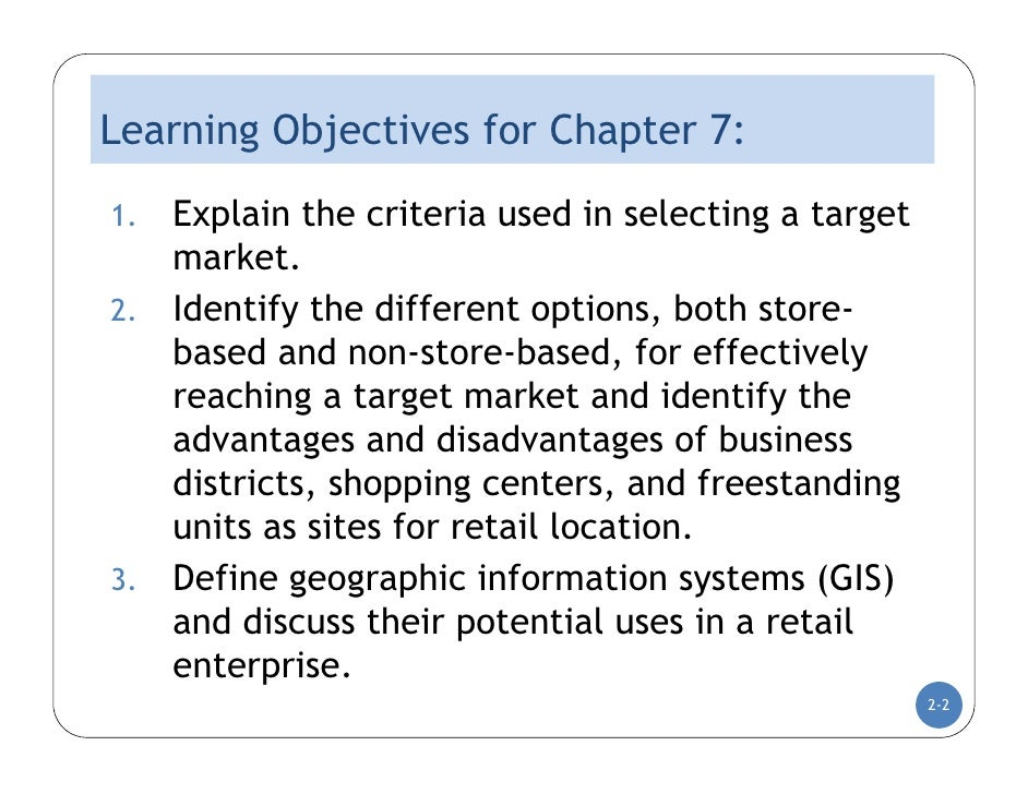 DC Lecture Two : Market Selection and Location Analysis  Slide 2