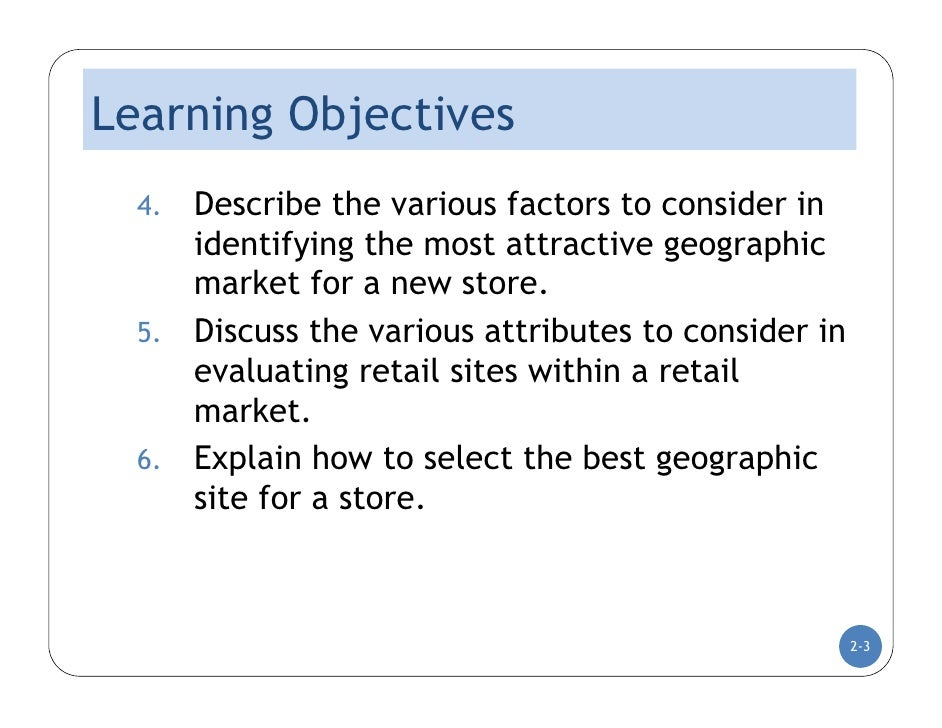 DC Lecture Two : Market Selection and Location Analysis  Slide 3
