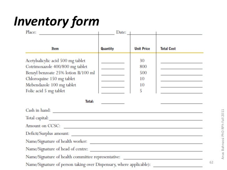 slideshare net  inventory form62 anas bahnassi phd rph fall 2011