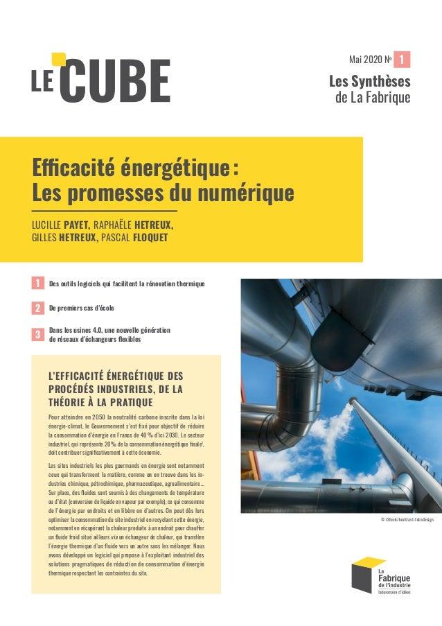 1 Les Synthèses de La Fabrique Mai 2020 No Efficacité énergétique: Les promesses du numérique LUCILLE PAYET, RAPHAËLE HET...