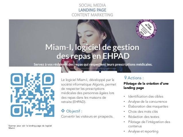 SOCIAL MEDIA LANDING PAGE CONTENT MARKETING Scanner pour voir la landing page du logiciel Miam-I Le logiciel Miam-I, dével...