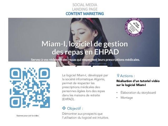 SOCIAL MEDIA LANDING PAGE CONTENT MARKETING Le logiciel Miam-I, développé par la société informatique Algonis, permet de r...