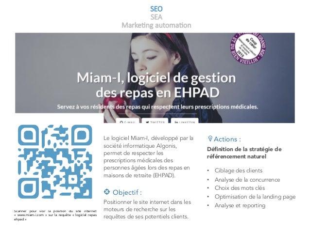 SEO SEA Marke+ng automa+on Scanner pour voir la position du site internet « www.miam-i.com » sur la requête « logiciel ...
