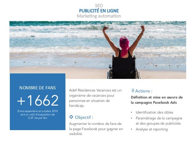 SEO PUBLICITÉ EN LIGNE Marke+ng automa+on Adef Résidences Vacances est un organisme de vacances pour personnes en situatio...