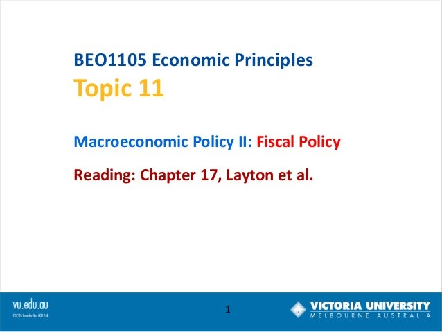 BEO1105 Economic Principles  Topic 11 Macroeconomic Policy II: Fiscal Policy  Reading: Chapter 17, Layton et al.  1