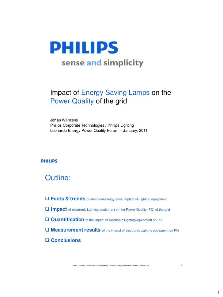Impact of Energy Saving Lamps on the   Power Quality of the grid   Johan Wijntjens   Philips Corporate Technologies / Phil...