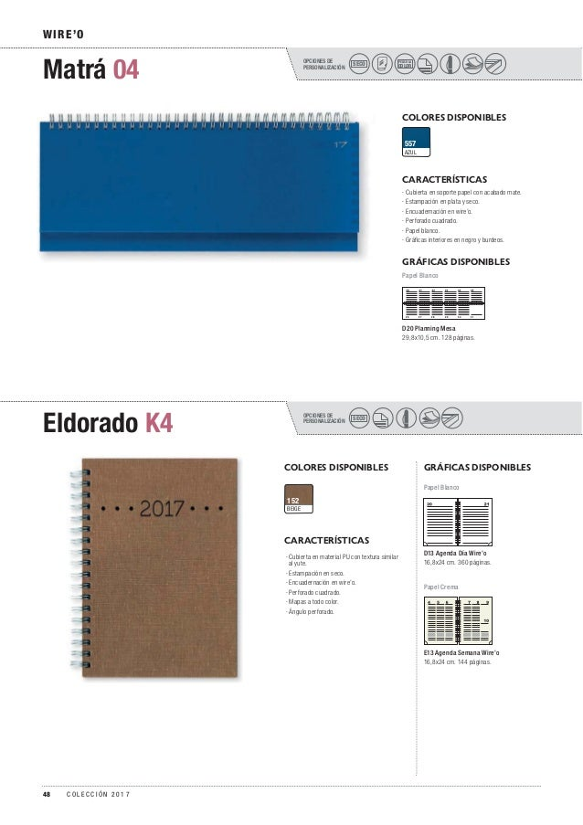 OPCIONES DE PERSONALIZACIÓN OPCIONES DE PERSONALIZACIÓN Matrá 04 Eldorado K4 WIRE'O COLORES DISPONIBLES COLORES DISPONIBLE...