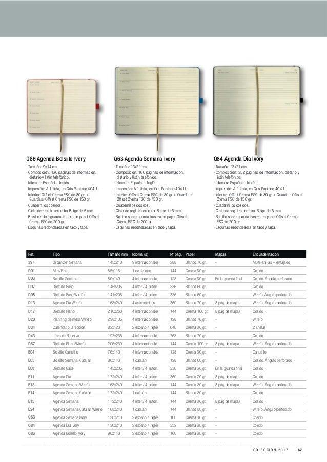 Ref. Tipo Tamaño mm Idioma (s) Nº pág. Papel Mapas Encuadernación 397 Organizer Semana 145x210 9 internacionales 288 Blanc...