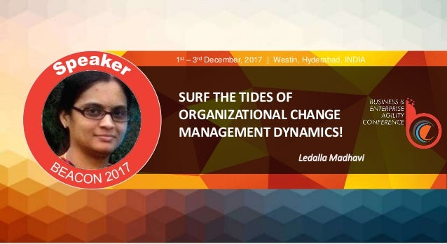SURF THE TIDES OF ORGANIZATIONAL CHANGE MANAGEMENT DYNAMICS! Ledalla Madhavi 1st – 3rd December, 2017 | Westin, Hyderabad,...