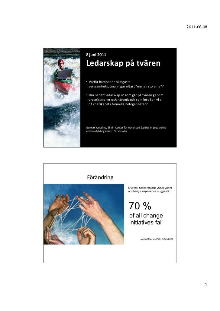 2011-‐06-‐08 8 juni 2011 Ledarskap på tvären    Varför hamnar de vikGgaste •  verksamhetsut...