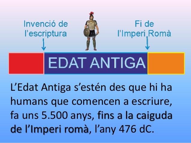 L'edat antiga. De l'aparició de l'escriptura a la fi de l'Imperi Romà. Slide 3