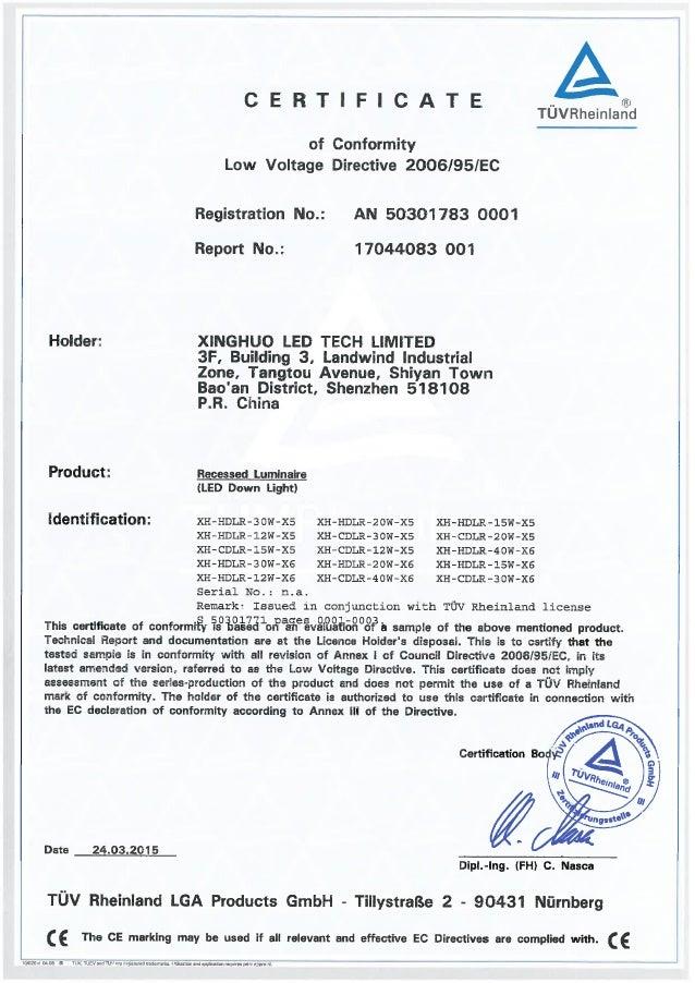 Led Downlight Tuv Gs Certification